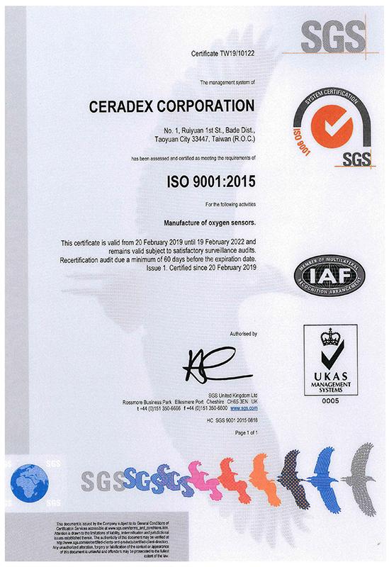 ISO9001 Certificate - CERADEX O2 Sensor Company
