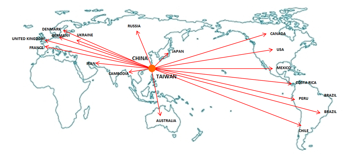 Sales map ceradexs oxygen sensor are sold to more than 50 countries worldwide gumiabroncs Choice Image